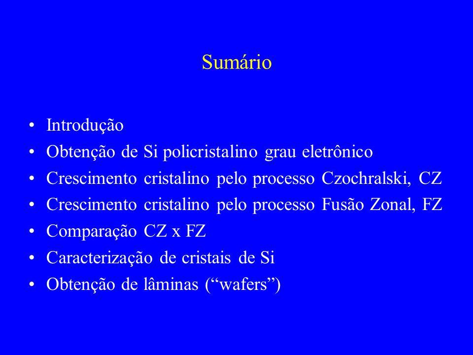 Sumário Introdução Obtenção de Si policristalino grau eletrônico