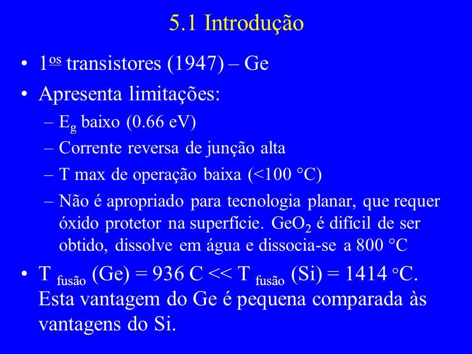 5.1 Introdução 1os transistores (1947) – Ge Apresenta limitações: