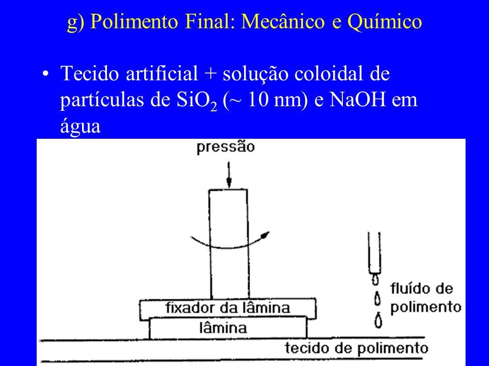 g) Polimento Final: Mecânico e Químico