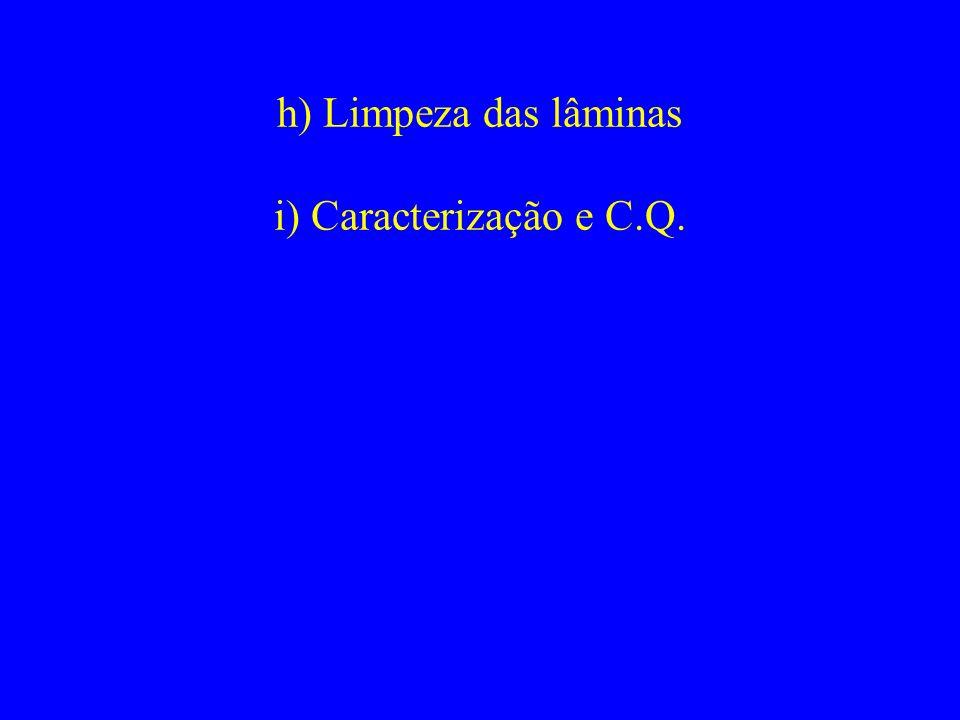 h) Limpeza das lâminas i) Caracterização e C.Q.