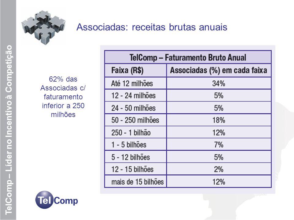 62% das Associadas c/ faturamento inferior a 250 milhões