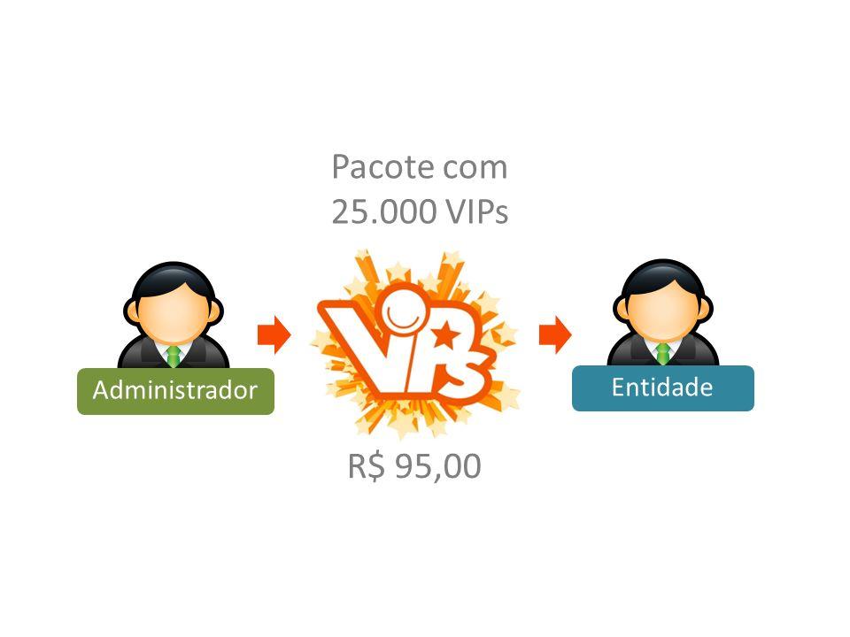 Pacote com 25.000 VIPs Entidade Administrador R$ 95,00