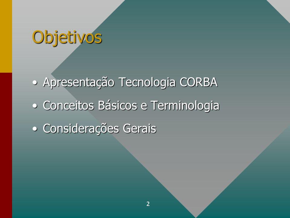Objetivos Apresentação Tecnologia CORBA