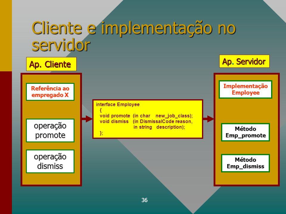 Cliente e implementação no servidor