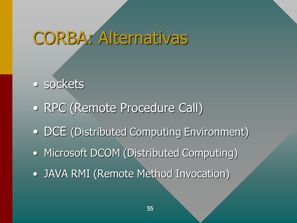 CORBA: Alternativas sockets RPC (Remote Procedure Call)
