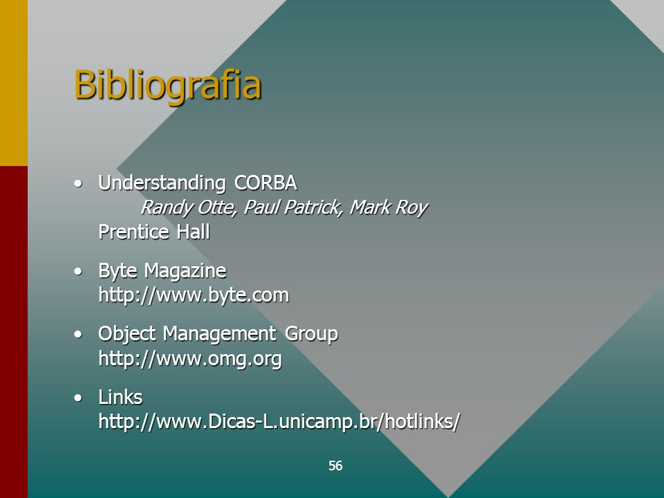 Bibliografia Understanding CORBA Randy Otte, Paul Patrick, Mark Roy Prentice Hall. Byte Magazine http://www.byte.com.