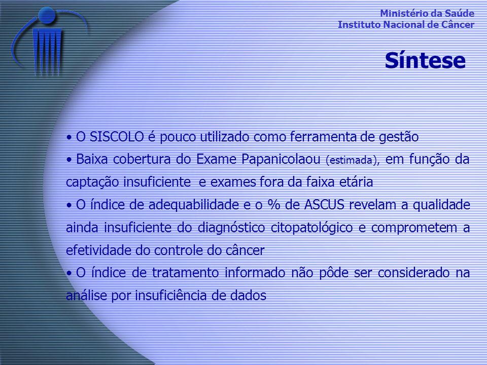 Síntese O SISCOLO é pouco utilizado como ferramenta de gestão