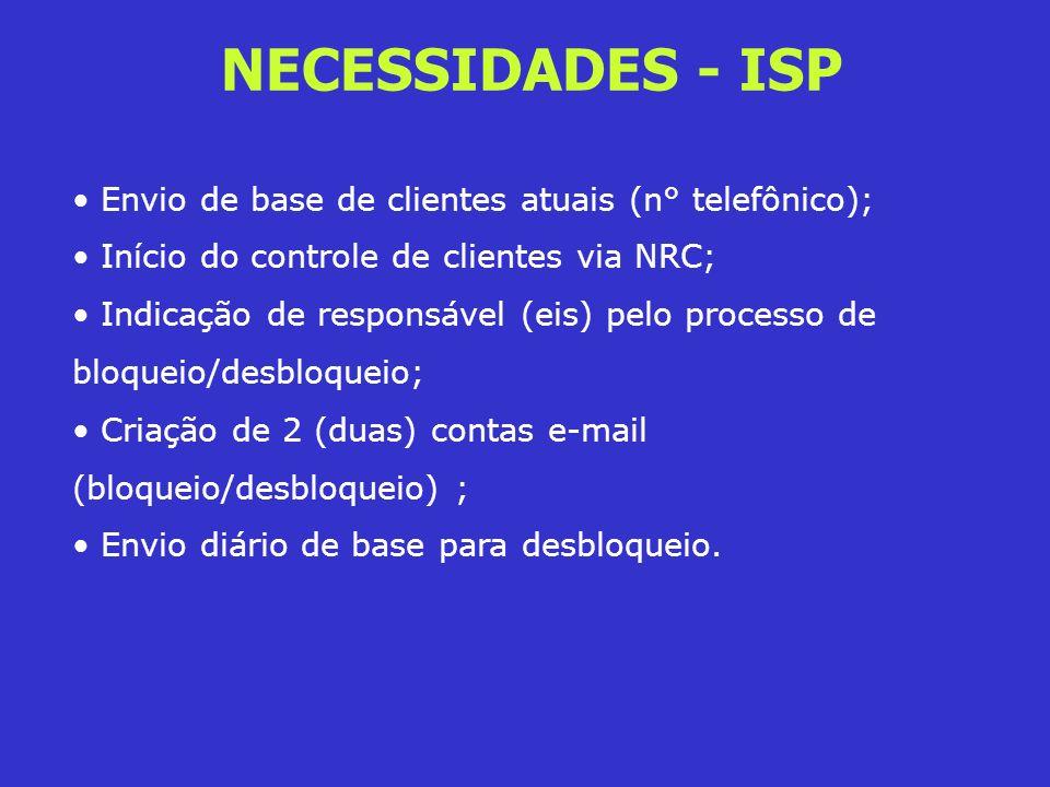 NECESSIDADES - ISP Envio de base de clientes atuais (n° telefônico);