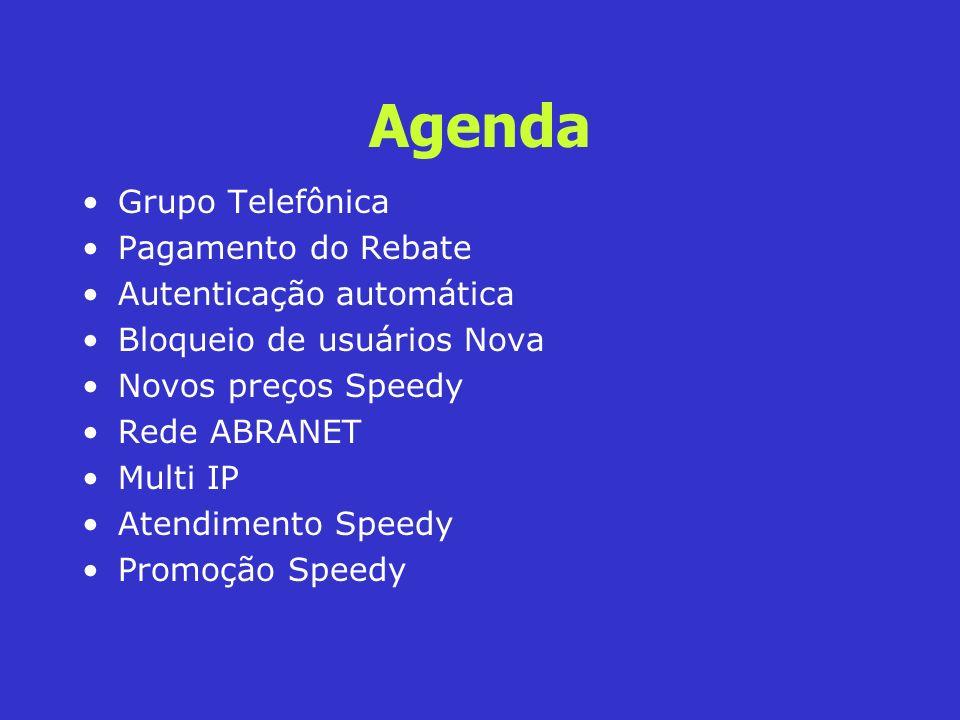 Agenda Grupo Telefônica Pagamento do Rebate Autenticação automática