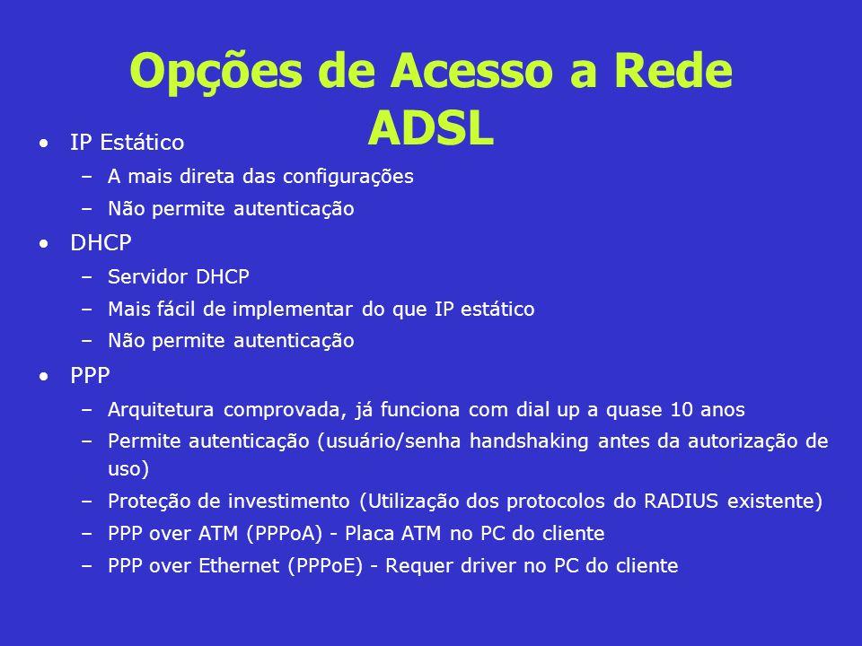 Opções de Acesso a Rede ADSL