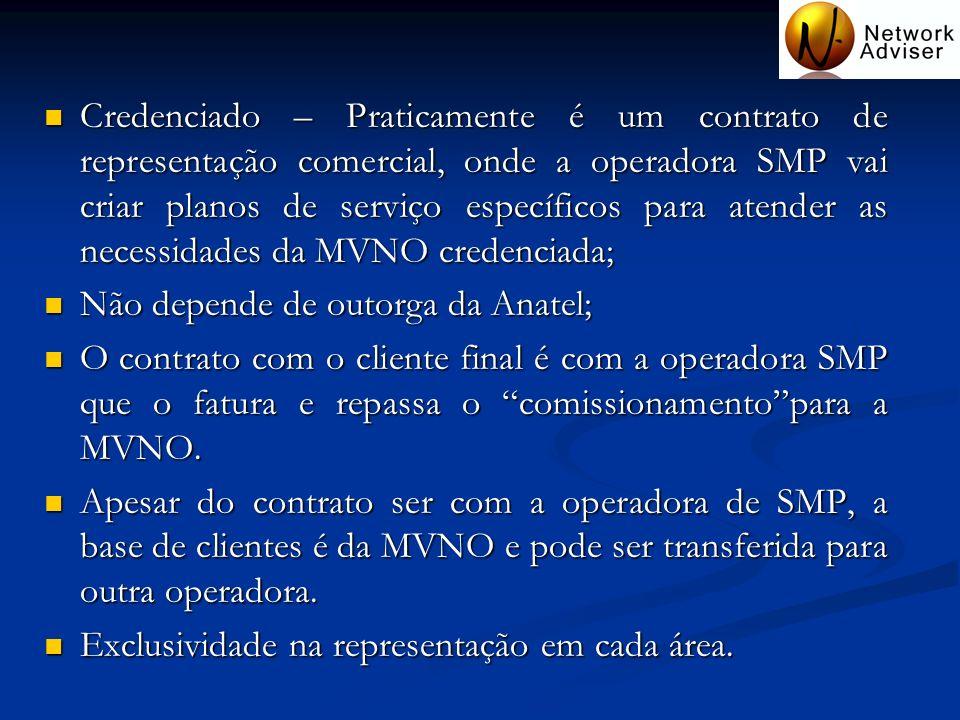 Credenciado – Praticamente é um contrato de representação comercial, onde a operadora SMP vai criar planos de serviço específicos para atender as necessidades da MVNO credenciada;