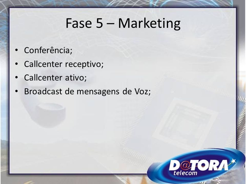 Fase 5 – Marketing Conferência; Callcenter receptivo;