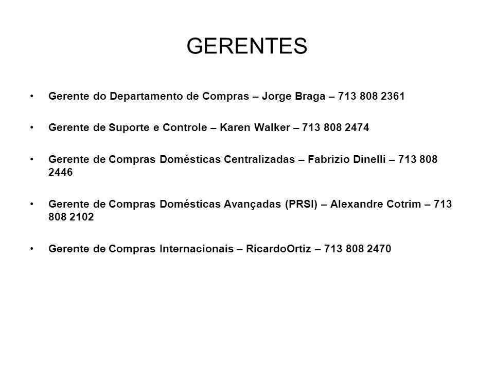 GERENTES Gerente do Departamento de Compras – Jorge Braga – 713 808 2361. Gerente de Suporte e Controle – Karen Walker – 713 808 2474.