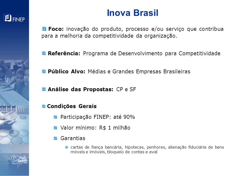 Inova Brasil Foco: inovação do produto, processo e/ou serviço que contribua para a melhoria da competitividade da organização.