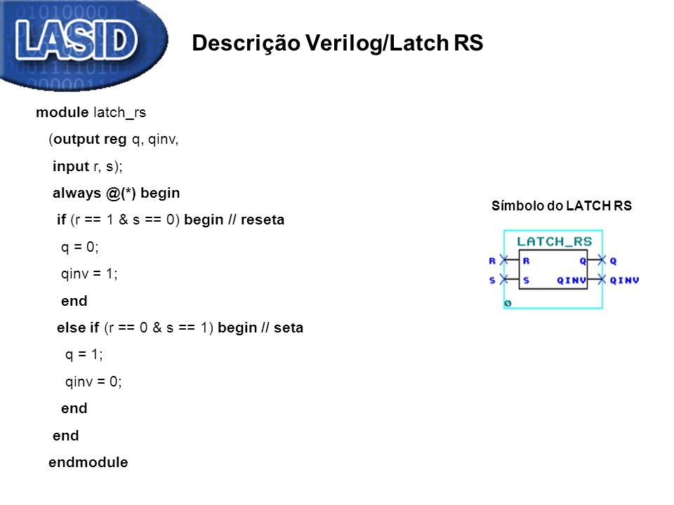 Descrição Verilog/Latch RS