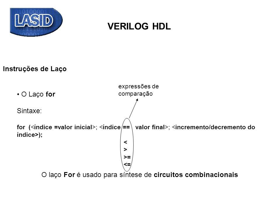 VERILOG HDL Instruções de Laço O Laço for Sintaxe: