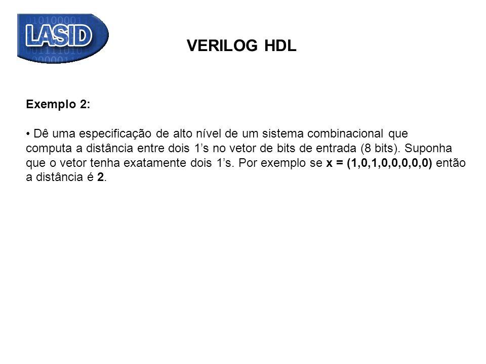 VERILOG HDL Exemplo 2: Dê uma especificação de alto nível de um sistema combinacional que.