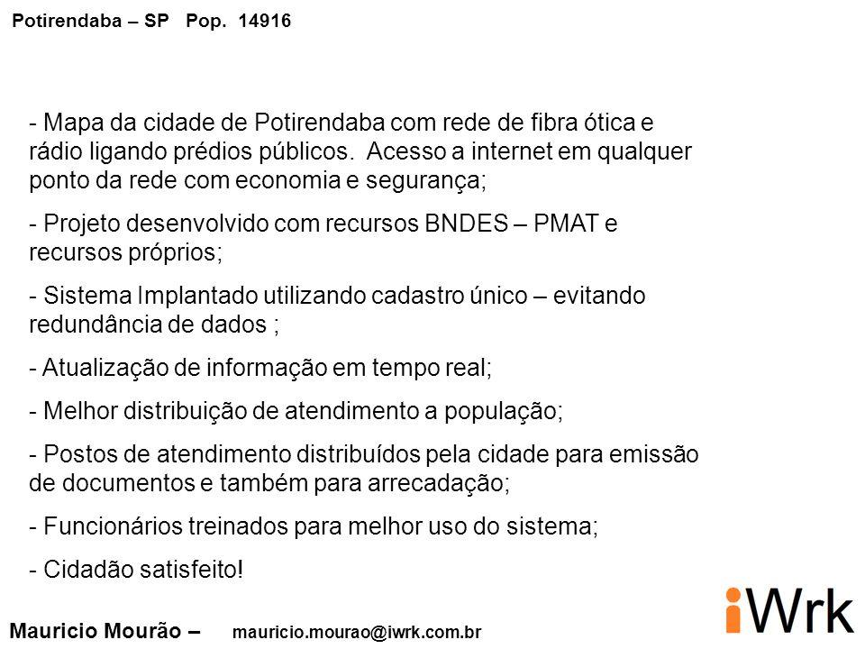 - Projeto desenvolvido com recursos BNDES – PMAT e recursos próprios;