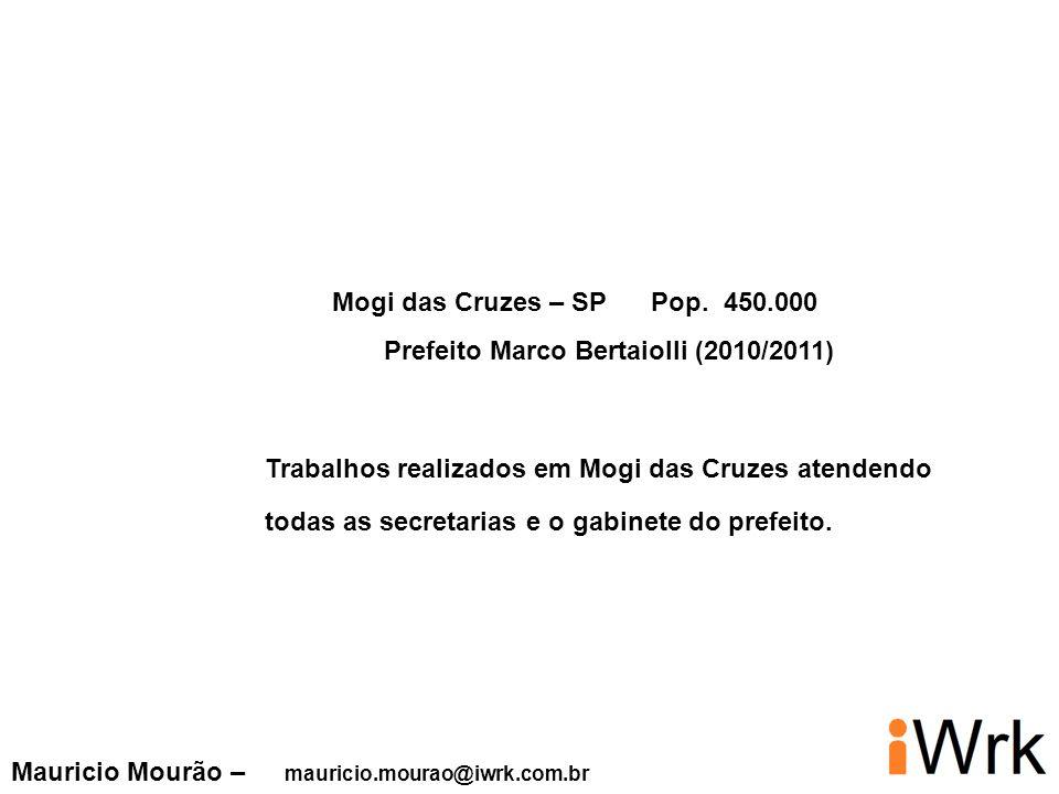 Mogi das Cruzes – SP Pop. 450.000 Prefeito Marco Bertaiolli (2010/2011) Trabalhos realizados em Mogi das Cruzes atendendo.