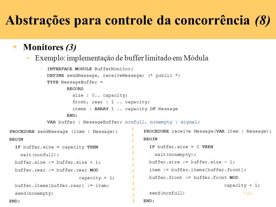 Abstrações para controle da concorrência (8)
