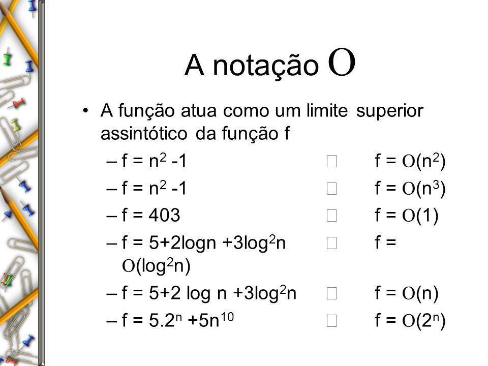 A notação O A função atua como um limite superior assintótico da função f. f = n2 -1 Þ f = O(n2)