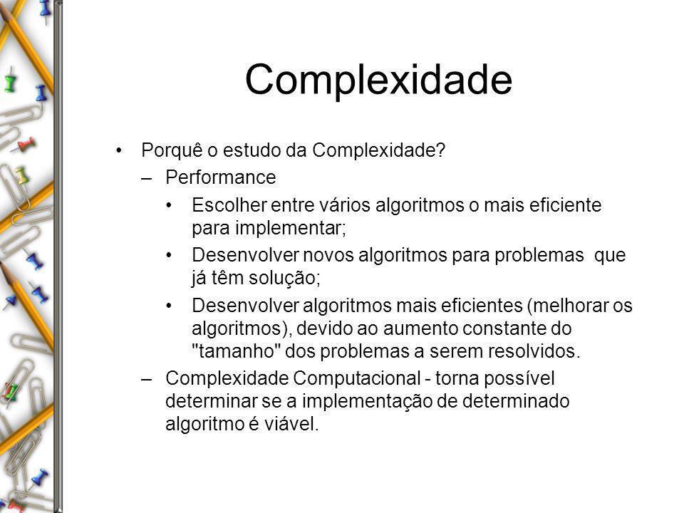 Complexidade Porquê o estudo da Complexidade Performance