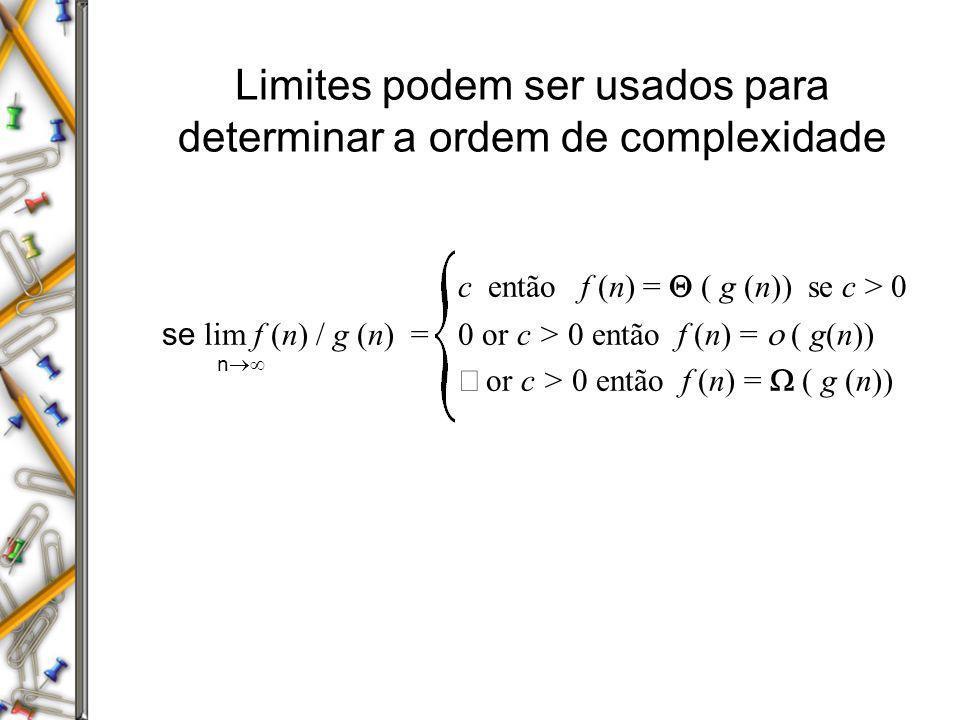 Limites podem ser usados para determinar a ordem de complexidade