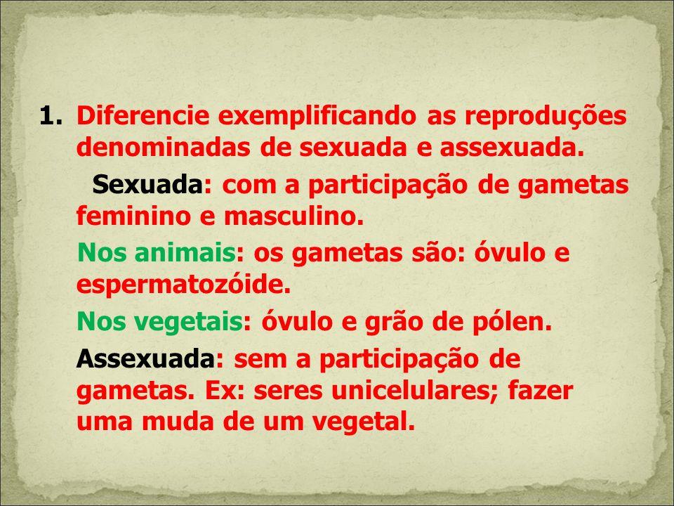 Diferencie exemplificando as reproduções denominadas de sexuada e assexuada.