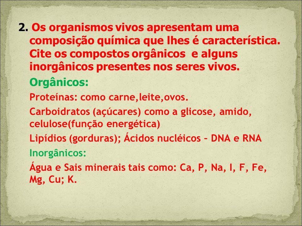 2. Os organismos vivos apresentam uma composição química que lhes é característica. Cite os compostos orgânicos e alguns inorgânicos presentes nos seres vivos.