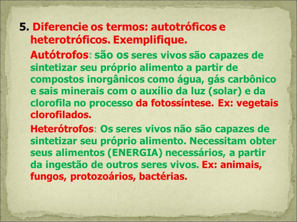 5. Diferencie os termos: autotróficos e heterotróficos. Exemplifique.