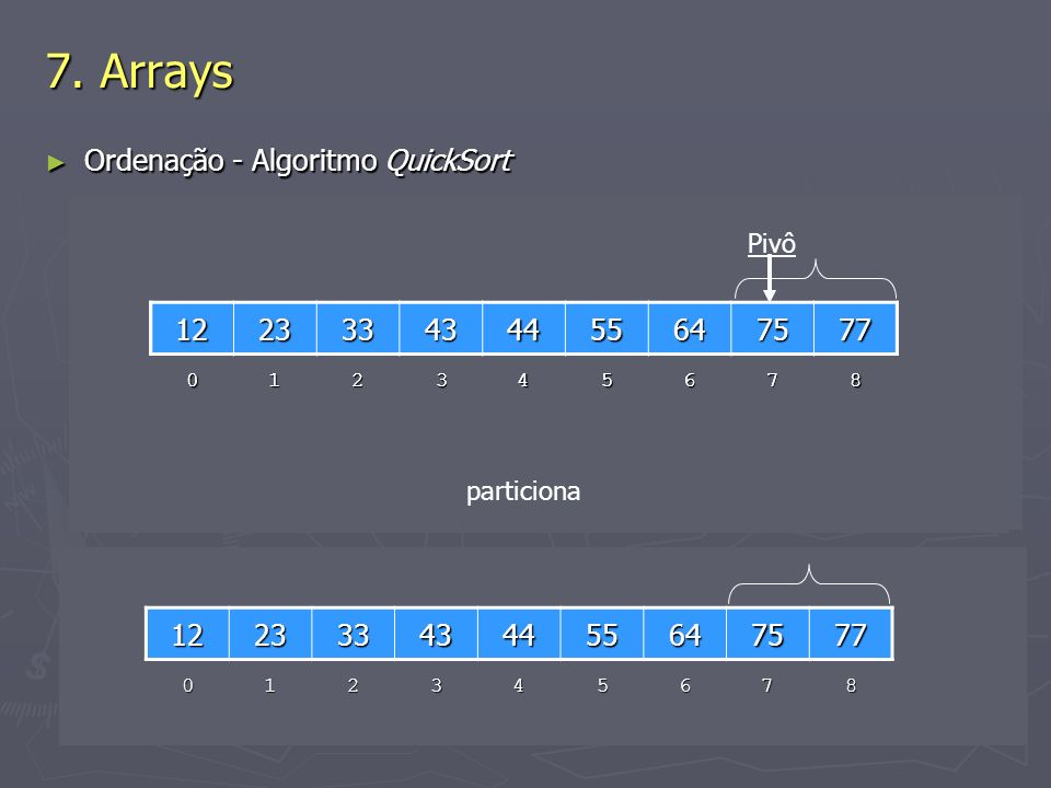 7. Arrays Ordenação - Algoritmo QuickSort 12 23 33 43 44 55 64 77 75