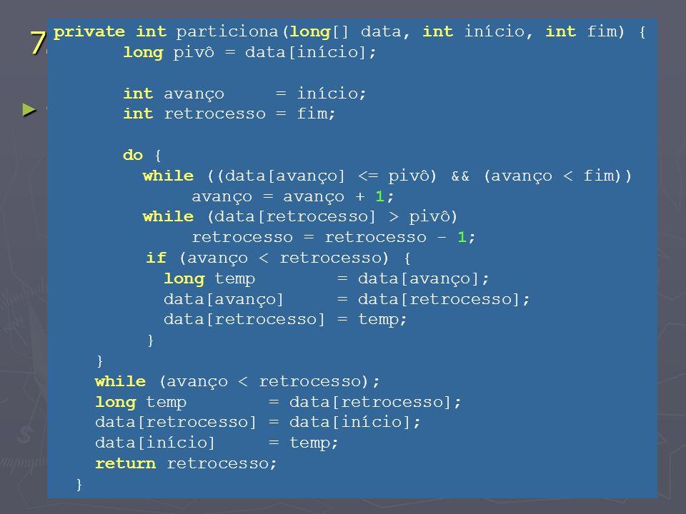 7. Arrays Ordenação - Algoritmo QuickSort