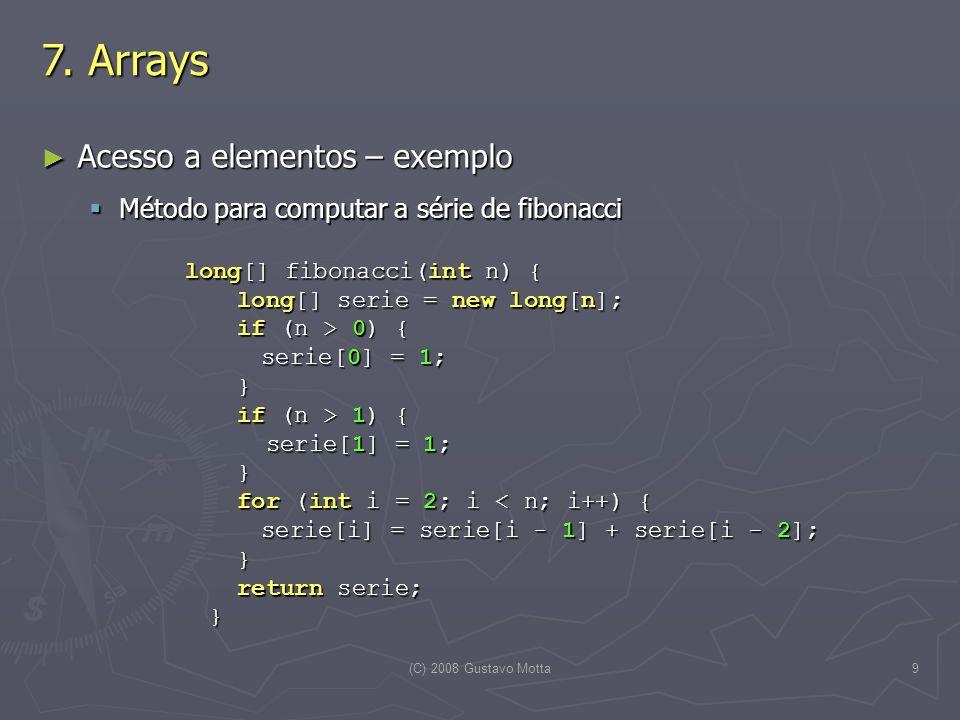 7. Arrays Acesso a elementos – exemplo