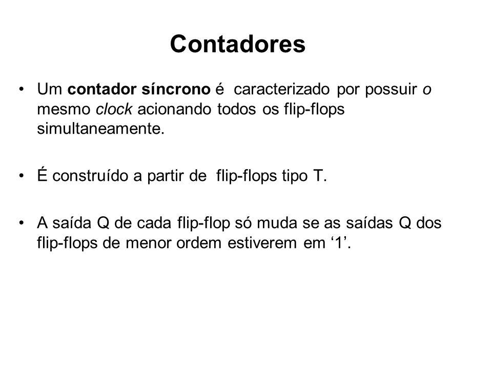 ContadoresUm contador síncrono é caracterizado por possuir o mesmo clock acionando todos os flip-flops simultaneamente.