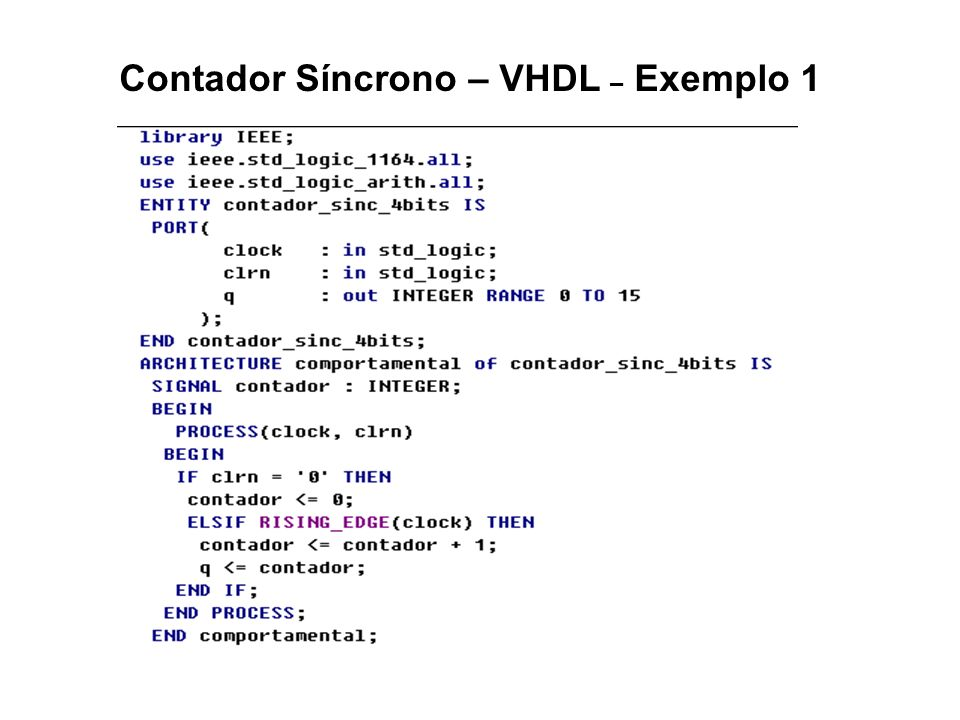 Contador Síncrono – VHDL – Exemplo 1