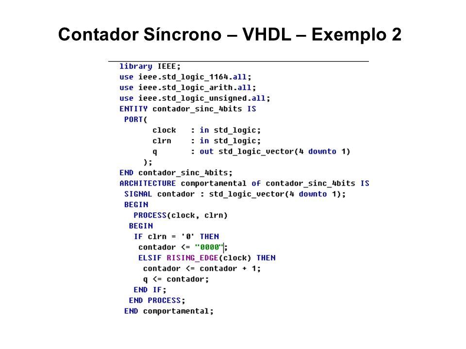 Contador Síncrono – VHDL – Exemplo 2