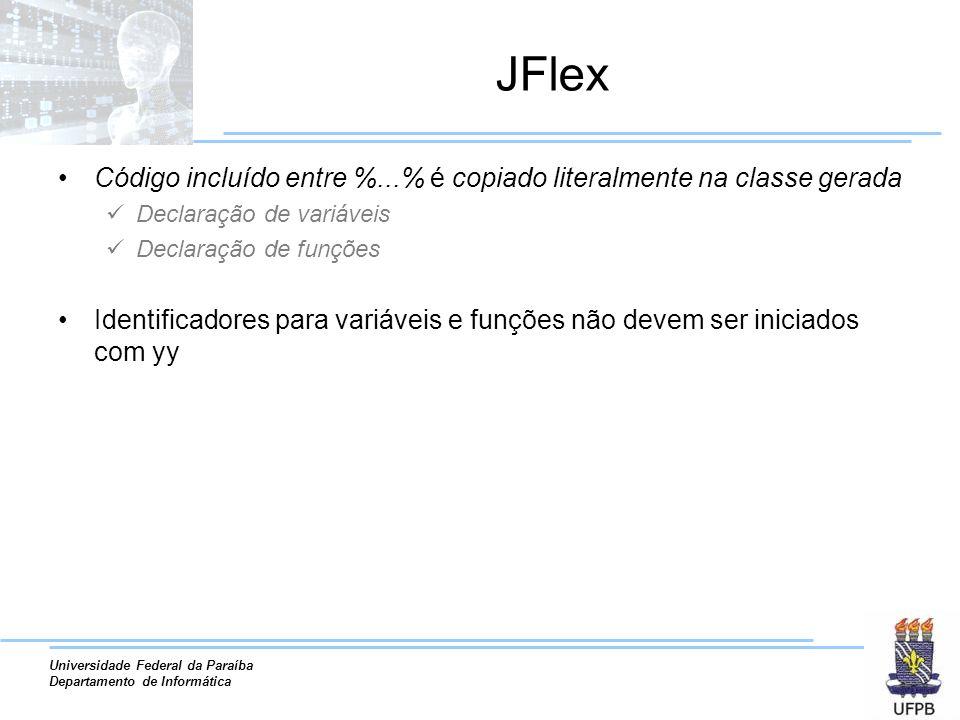 JFlex Código incluído entre %...% é copiado literalmente na classe gerada. Declaração de variáveis.