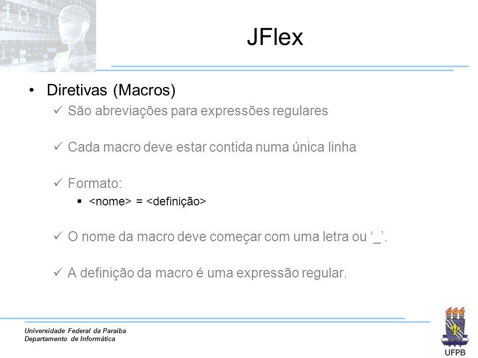 JFlex Diretivas (Macros) São abreviações para expressões regulares