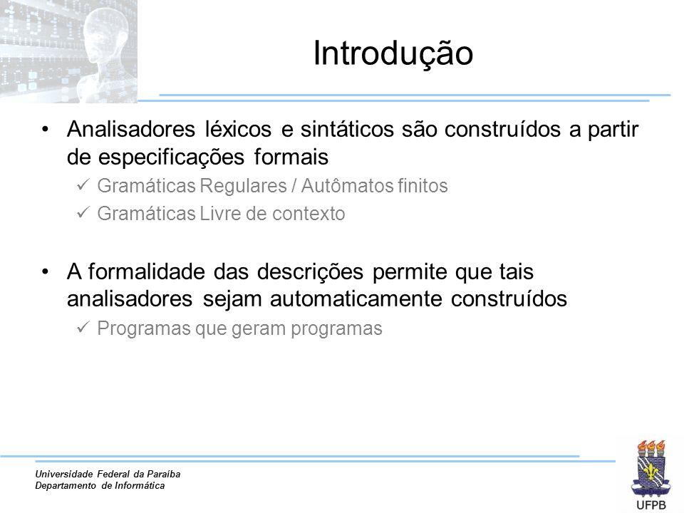 Introdução Analisadores léxicos e sintáticos são construídos a partir de especificações formais. Gramáticas Regulares / Autômatos finitos.