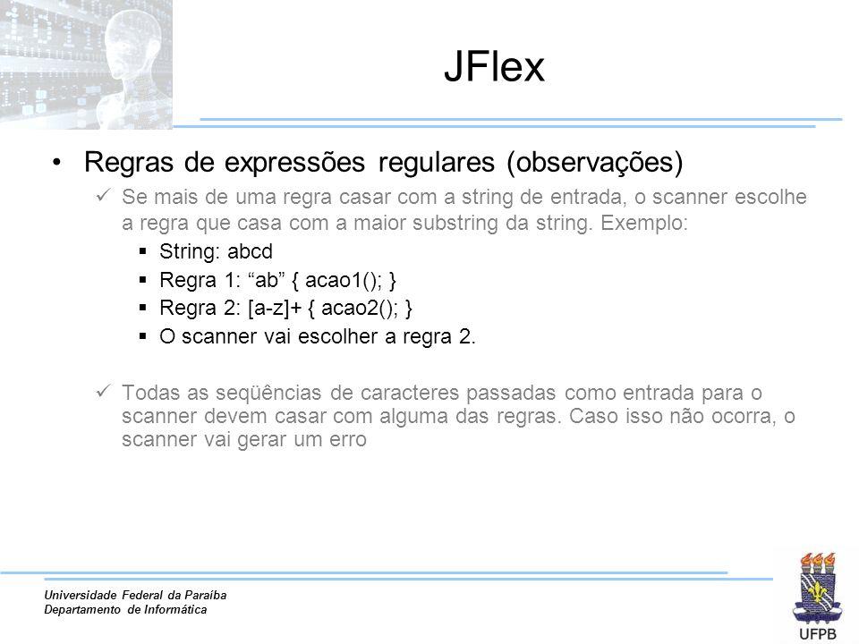 JFlex Regras de expressões regulares (observações)