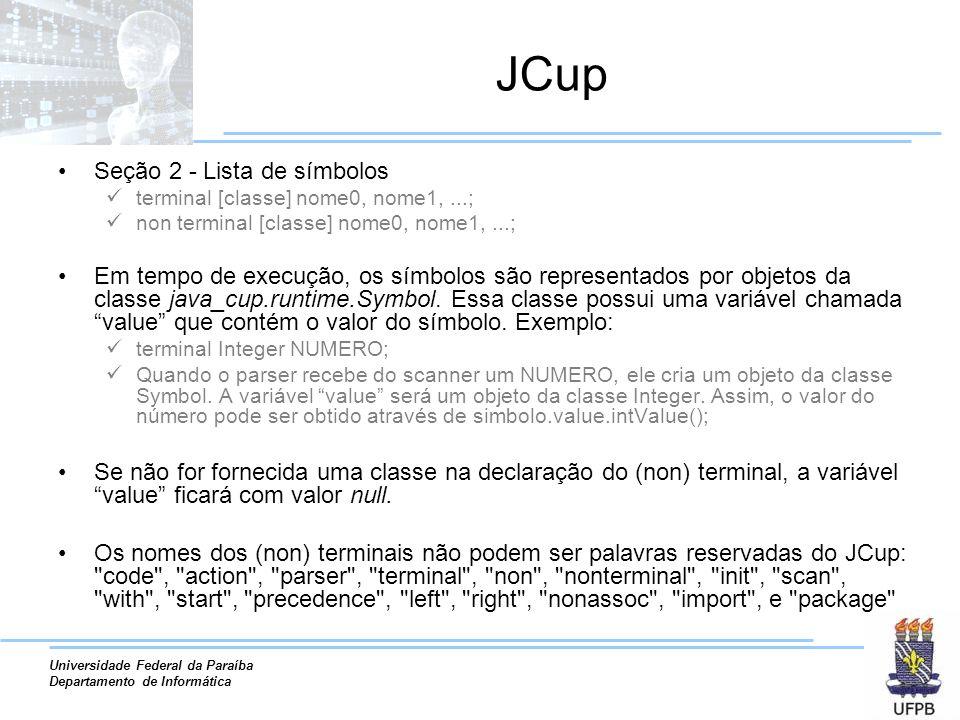 JCup Seção 2 - Lista de símbolos