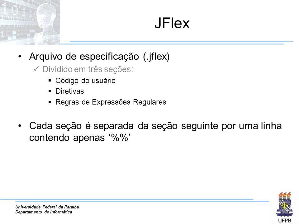 JFlex Arquivo de especificação (.jflex)