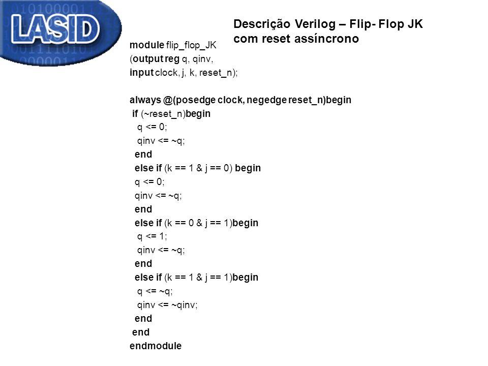 Descrição Verilog – Flip- Flop JK com reset assíncrono