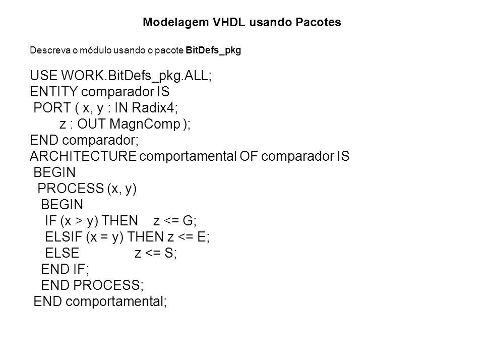 Modelagem VHDL usando Pacotes