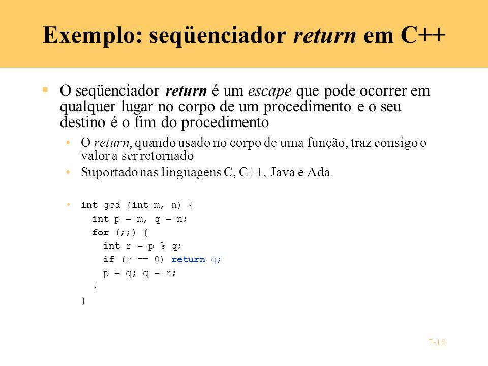 Exemplo: seqüenciador return em C++