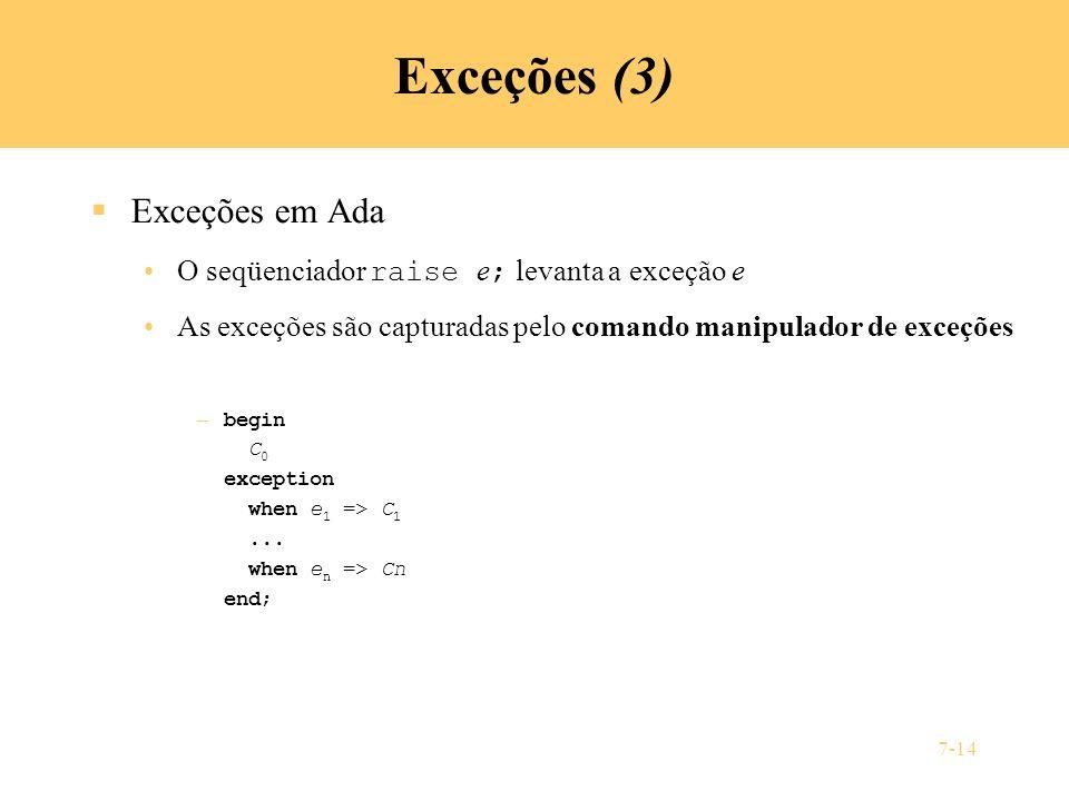 Exceções (3) Exceções em Ada