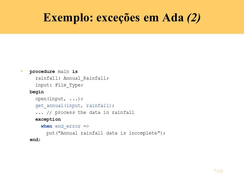 Exemplo: exceções em Ada (2)