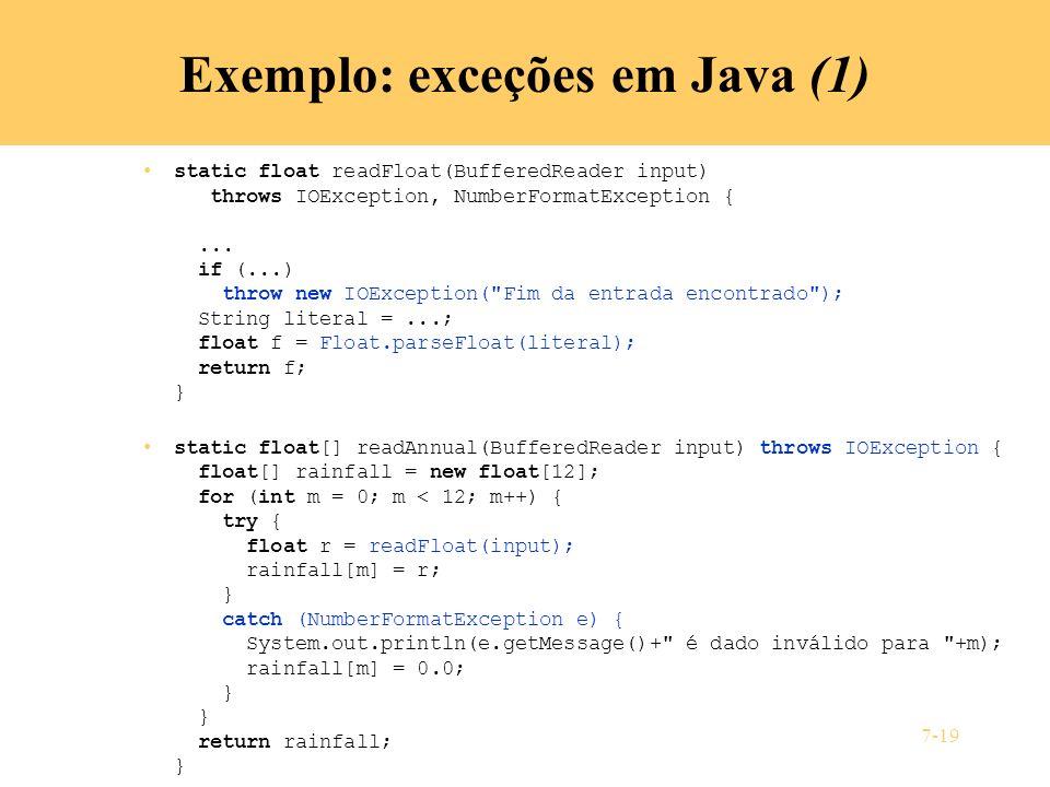 Exemplo: exceções em Java (1)