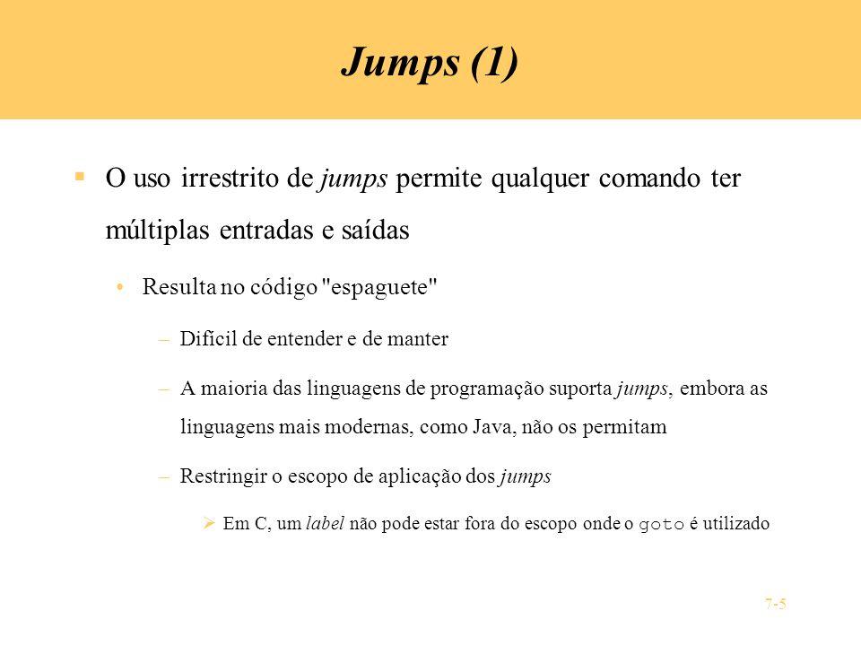 Jumps (1) O uso irrestrito de jumps permite qualquer comando ter múltiplas entradas e saídas. Resulta no código espaguete