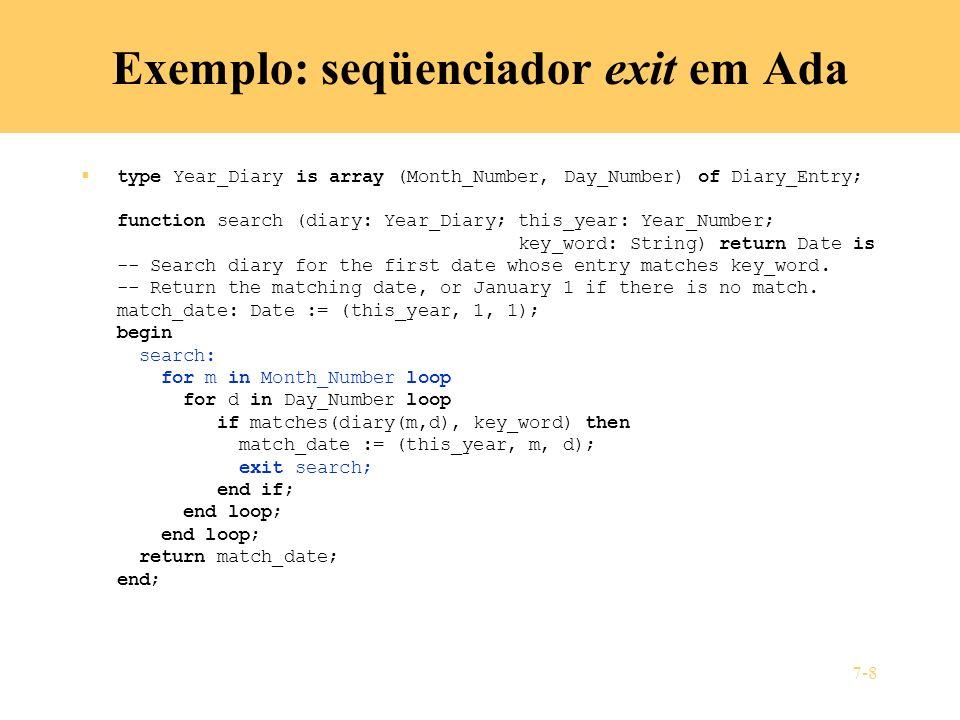 Exemplo: seqüenciador exit em Ada